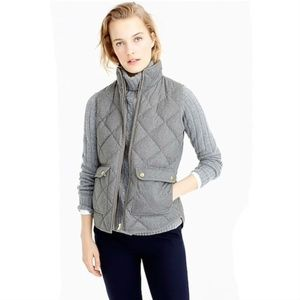 J Crew Quilted Excursion Vest Gray Heather Flannel